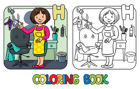 pinafore: Coloring book of funny woman hairdresser with scissors near the mirror, barber chair and hairdress equipment. Profession ABC series. Children vector illustration. Alphabet H