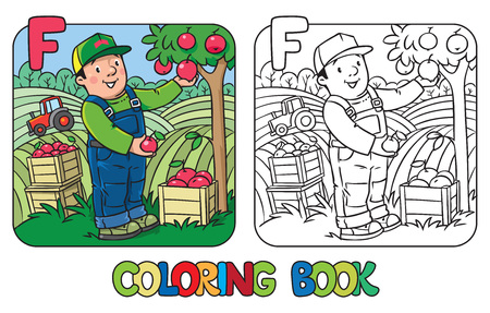 Coloring book of funny farmer or gardener in overall and baseball cap with apples in hands near the apple tree, with boxes of apples. Profession ABC series. Children vector illustration. Alphabet F Illustration
