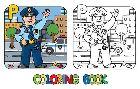 사진을 색칠하거나 유니폼 재미 경찰관의 책을 색칠. 직업 ABC 시리즈. 아이들은 그림을 벡터. 알파벳 P