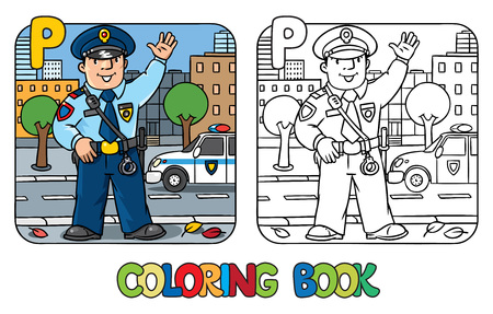 Coloring picture or coloring book of funny policeman in uniform. Profession ABC series. Children vector illustration. Alphabet P Vettoriali