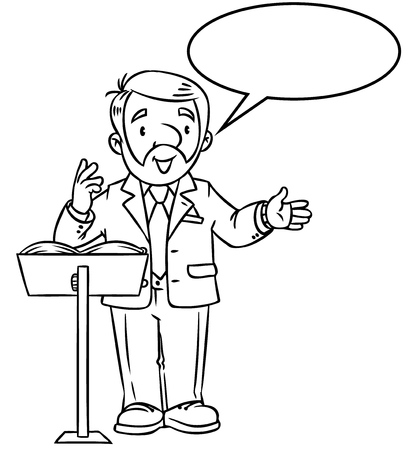 Coloring book of funny univercity lector. A man with a beard is giving a lecture or lesson, or tells something, near the stand for book. Profession series. Childrens vector illustration.