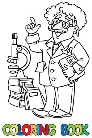 Coloring picture of funny scientist or inventor. A man in glasses and suit with books, folders, microscope and telescope raised index finger. Profession series. Childrens vector illustration.