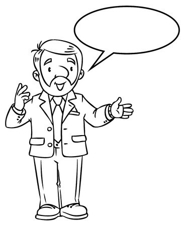 Coloring book of funny univercity lector. A man with a beard is giving a lecture or lesson, or tells something. Profession series. Childrens vector illustration. Illustration
