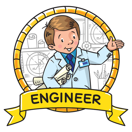 Engineer coloring book. ABC of profession. Emblem Illustration