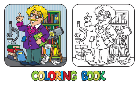 Coloring book of funny scientist or inventor Stock Illustratie