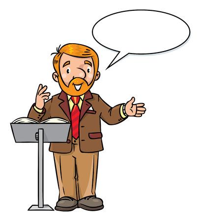 Funny university lecturer or teacher Illustration