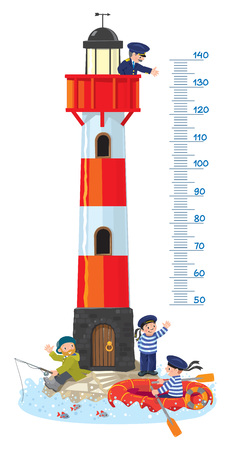 Meter wall or height chart with lighthouse Reklamní fotografie - 70833025
