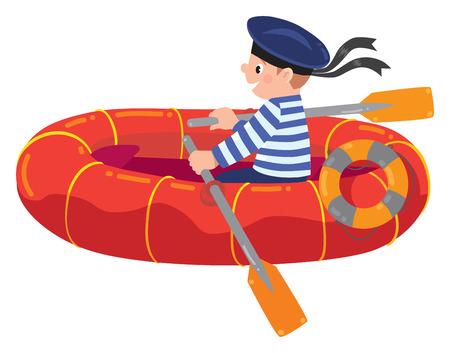 Happy sailor in boat