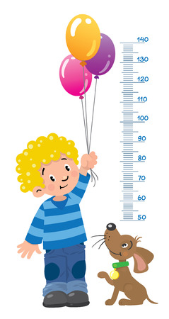 height: Meter wall or height chart with boy and puppy