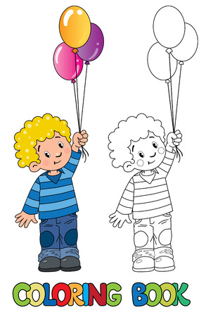 child hair: Funny little boy with balloons. Coloring book