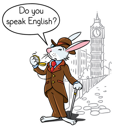 Kids vector illustration of funny rabbit in glasses, jacket, hat and pants with watch and walking cane. On background of Big Ben and London cityscape. Includes balloon with text Do You Speak English Illustration