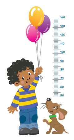 child hair: Meter wall or height chart of boy in striped sweater and jeans with balloons and funny dog beside him. Children vector illustration with a Height scale from 50 to 140 centimeters to measure growth