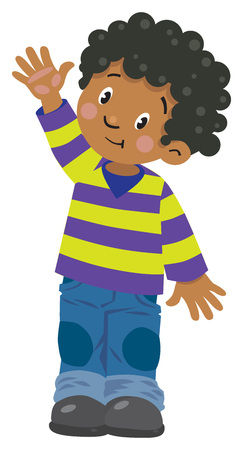 mexican boy: Children vector illustration of funny boy in striped sweater and jeans waving by hand