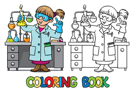 Coloring picture or coloring book of funny chemist or scientist. A woman in glasses dressed in a lab coat and gloves with smocking retort or vial. Profession series. Childrens vector illustration. Vettoriali
