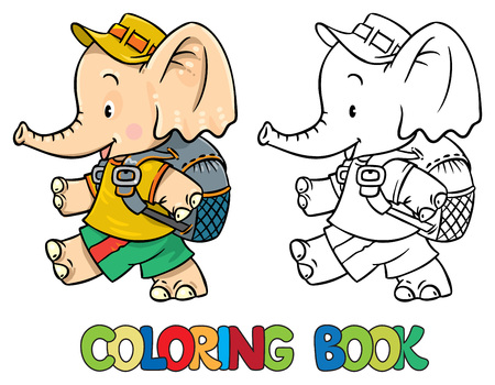 Libro De Colorante De Pequeño Elefante Bebé Ilustraciones ...