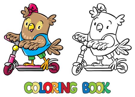 Libro De Colorante De Pequeño Búho Divertido En El Scooter ...
