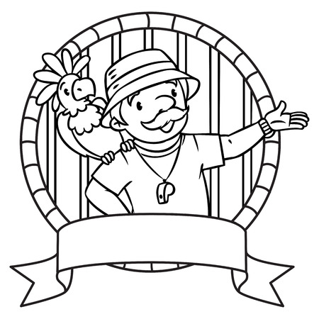 Coloring book of funny zoo keeper. A man dressed in panama hat, t-shirt and shorts with parrot and the service cart. Profession series. Childrens vector illustration. Emblem Illustration