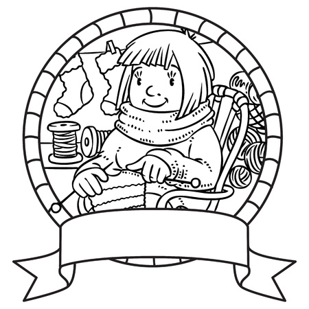 Coloring book with funny knitter women. Emblem Çizim