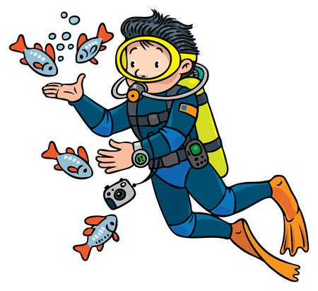 Funny oceanographer or diver Illustration