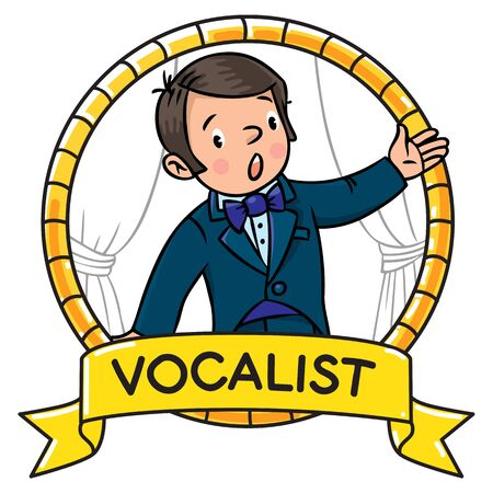vocalist: Funny singer or vocalist. Illustration