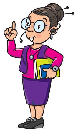 Interprète drôle ou traducteur au bureau. Une femme intelligente à lunettes rondes et un costume avec des livres sous le bras et le casque. Série professionnelle Enfants vector illustration. Vecteurs