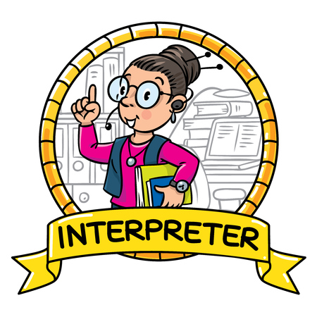 interpreter: Funny translator or interpreter. Emblem
