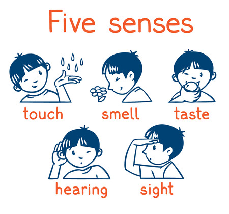 Five senses monochrome icon set