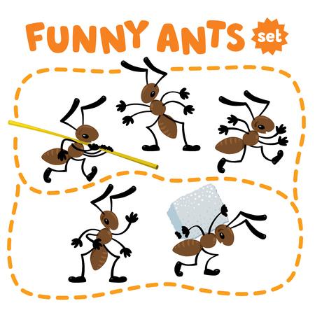 재미 있은 작은 개미 설정합니다. 어린이 벡터 일러스트 레이션 일러스트