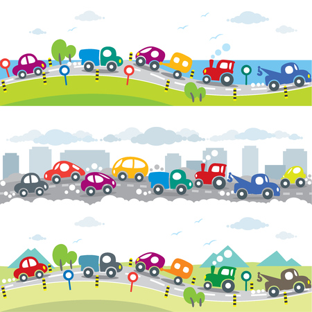 Cars on the road. Seamless horizontal pattern set Illustration