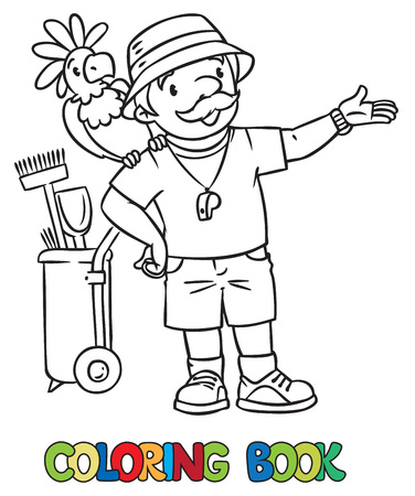 Coloring Book Of Funny Zoo Keeper A Man Dressed In Panama Hat