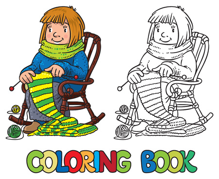 Coloring book with funny knitter women. Çizim