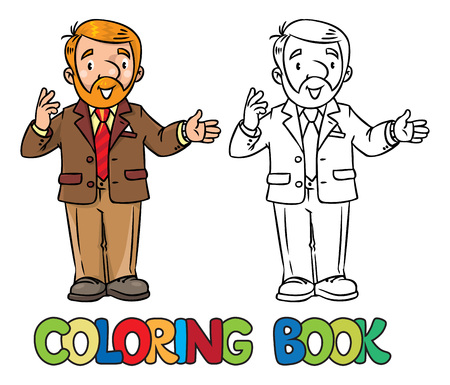 Funny university lecturer. Coloring book Illustration