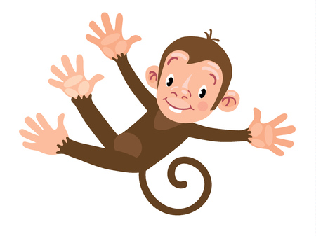 Happy little funny monkey Illustration
