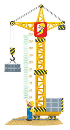 Construction crane meter wall or height chart Ilustração