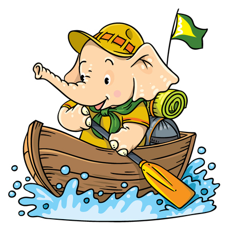 Little baby elephant floating by boat. Scout