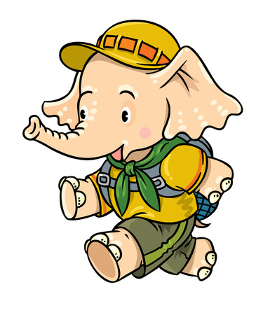 scouting: Running little baby elephant. Scout Illustration