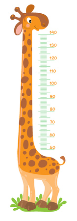 Giraffe meter wall or height chart  イラスト・ベクター素材