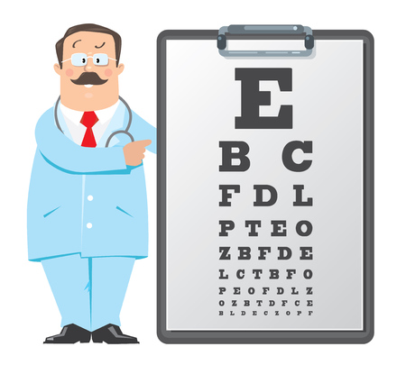 Optician doctor with Snellen eye chart. Doctor
