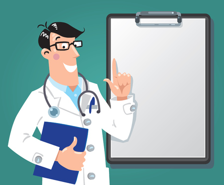 Funny doctor with clipboard. Design template