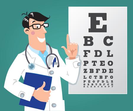 Optician doctor with Snellen eye chart. Doctor