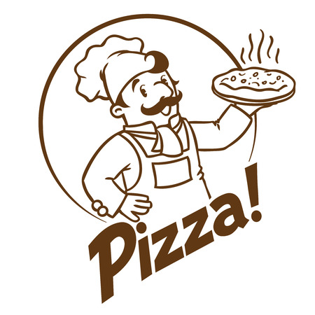 Emblem of funny cook or baker with pizza and logo Illustration
