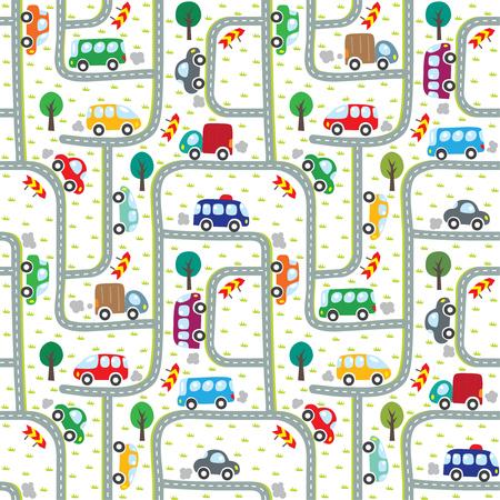도로에 자동차. 원활한 패턴입니다. 일러스트