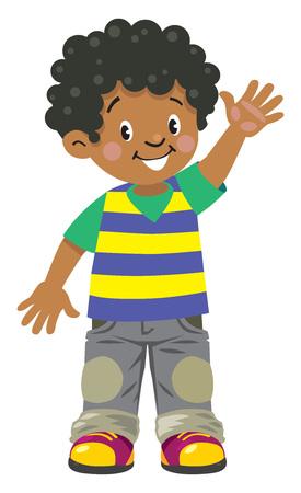 Petit garçon africain drôle Vecteurs