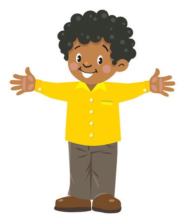 재미 있은 작은 아프리카 소년