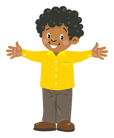 Funny little african boy Stock Illustratie