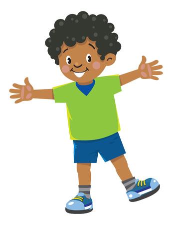 Funny little african boy Иллюстрация