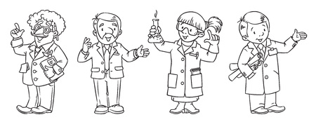 Science Professions Coloring Book Set Royalty Free Cliparts ...