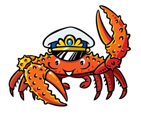 Crab in marine captain cap