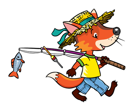 fishing village: Funny little baby fox in straw hat go from fising with rod and one fish. Children vector illustration Illustration