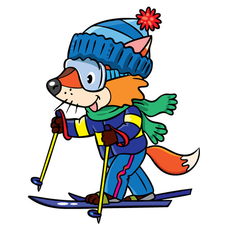 Funny little baby fox rides on skis. Children vector illustration